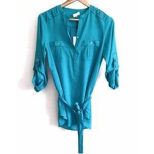 Calvin Klein Blue 3/4 Sleeve Blouse w/ Tie-Size XS
